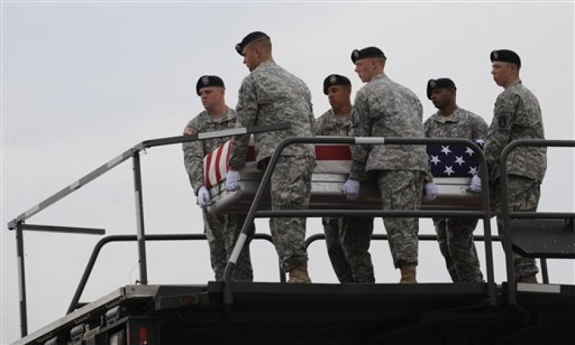 An Army carry team carries a transfer case containing the remains of U.S. Army Lieutenant Joseph J. Theinert Saturday, June 5, 2010 at Dover Air Force Base in Del. According to the Department of Defense Theinert, of Sag Harbor, N.Y., was killed during Operation Enduring Freedom.(AP Photo/Gail Burton).