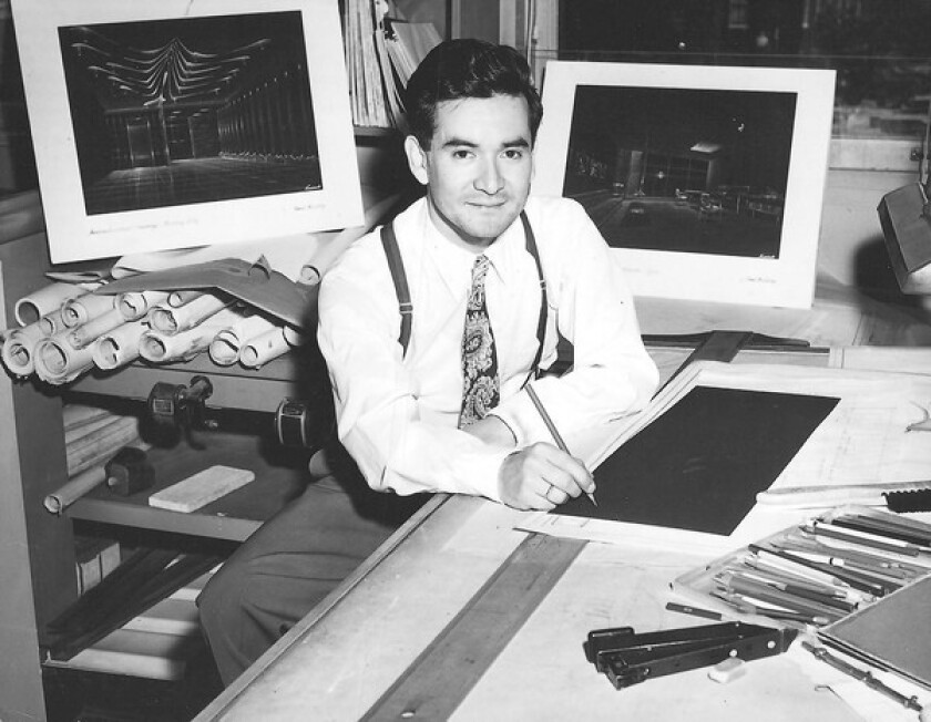 W.A. Sarmiento, seen in 1958 at the Bank Building and Equipment Corp. in St. Louis, designed more than 100 banks, helping them shed the typically somber image of buildings in the industry.