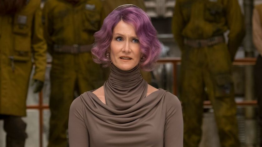 "This image released by Lucasfilm shows Laura Dern as Vice Admiral Holdo in ""Star Wars: The Last Jedi"