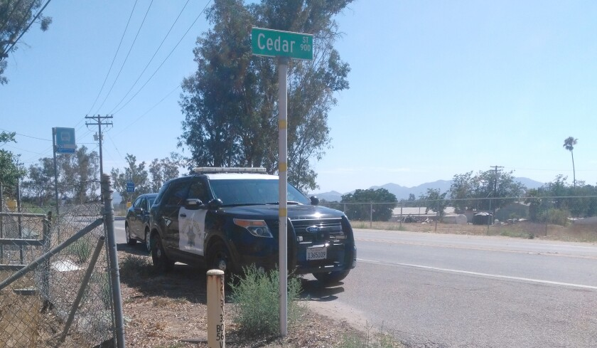California Highway Patrol respond to a collision between a bicyclist and a Toyota Highlander at state Route 78 and Cedar Street Wednesday afternoon. The bicyclist reported experiencing pain and minor abrasions.