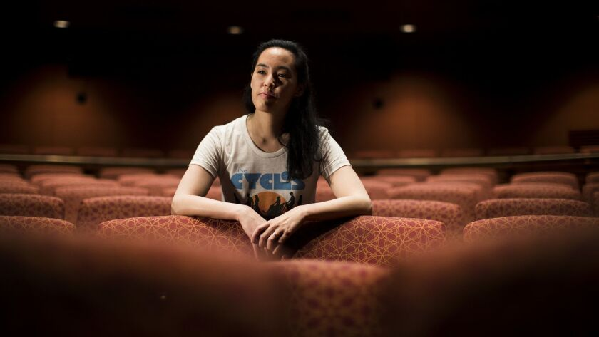 """Lauren Yee, photographed at South Coast Repertory, where her play """"Cambodian Rock Band"""" premieres. The playwright's work has been, or soon will be, on stages in L.A., Chicago, Denver and Minneapolis."""