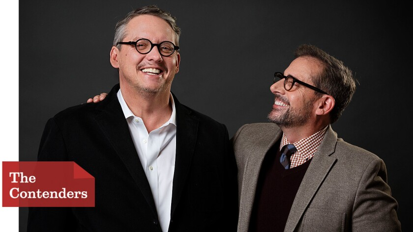 """""""The Big Short"""" director Adam McKay, left, and actor Steve Carell go back 25 years."""