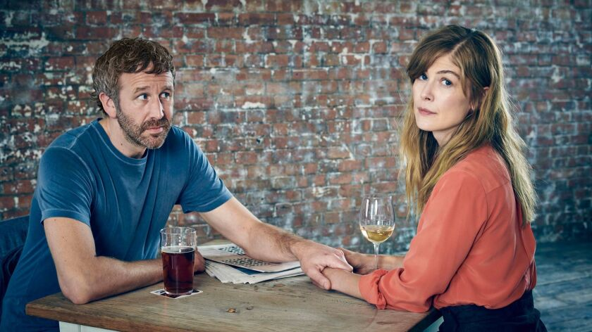Chris O'Dowd and Rosamund Pike appear in <i>State of the Union</i> by Stephen Frears, an official
