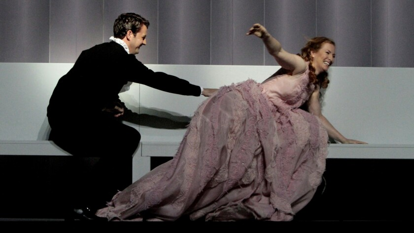 """Liam Bonner and Paula Murrihy in Purcell's """"Dido and Aeneas"""" by Los Angeles Opera at the Dorothy Chandler Pavilionon Oct. 22, 2014."""