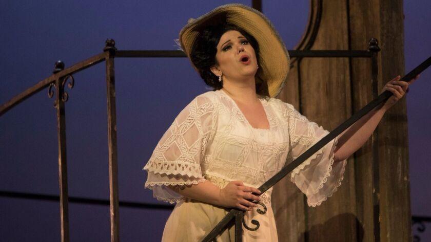 "Soprano Elaine Alvarez plays Florencia Grimaldi in San Diego Opera's ""Florencia en el Amazonas"" at the San Diego Civic Theatre."