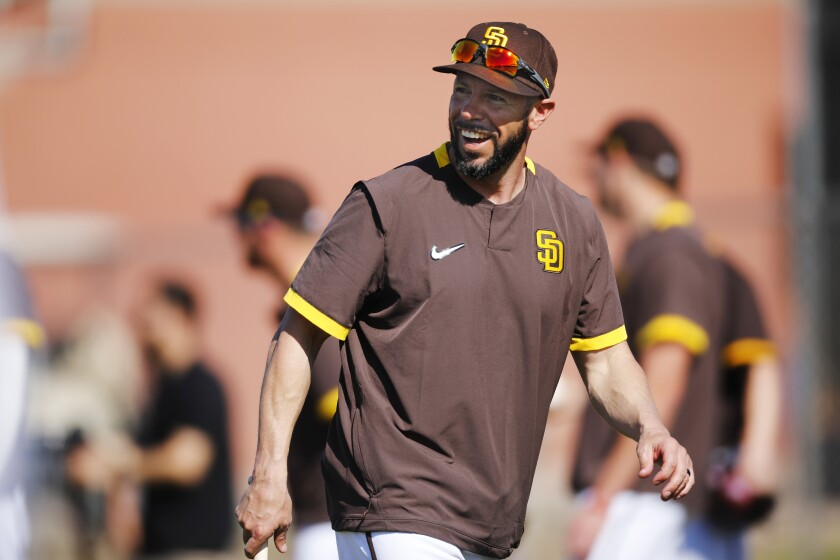 Padres manager Jayce Tingler coached the first full squad spring training practice on Feb. 18.