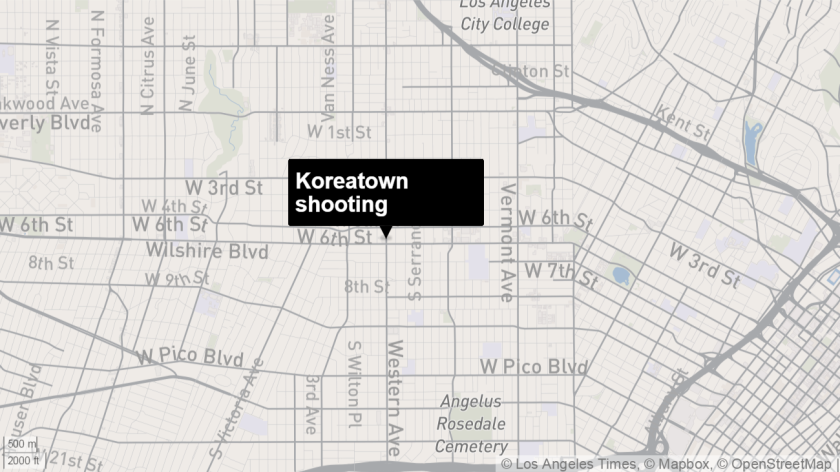 This map shows where a man was fatally shot at a bus stop in Koreatown on Sunday.