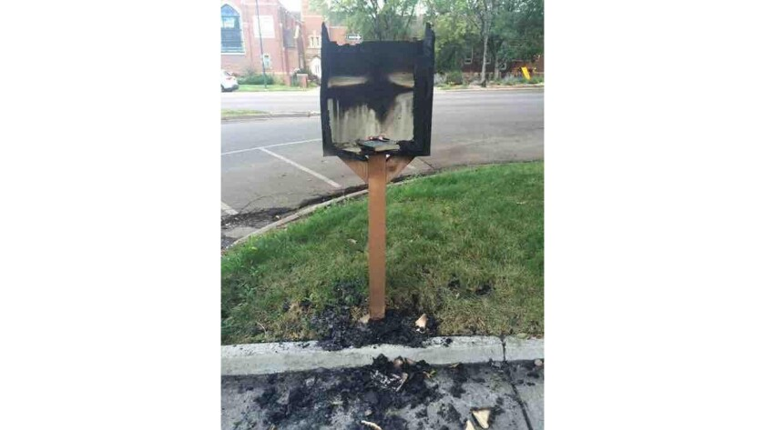 Burned Little Free Library