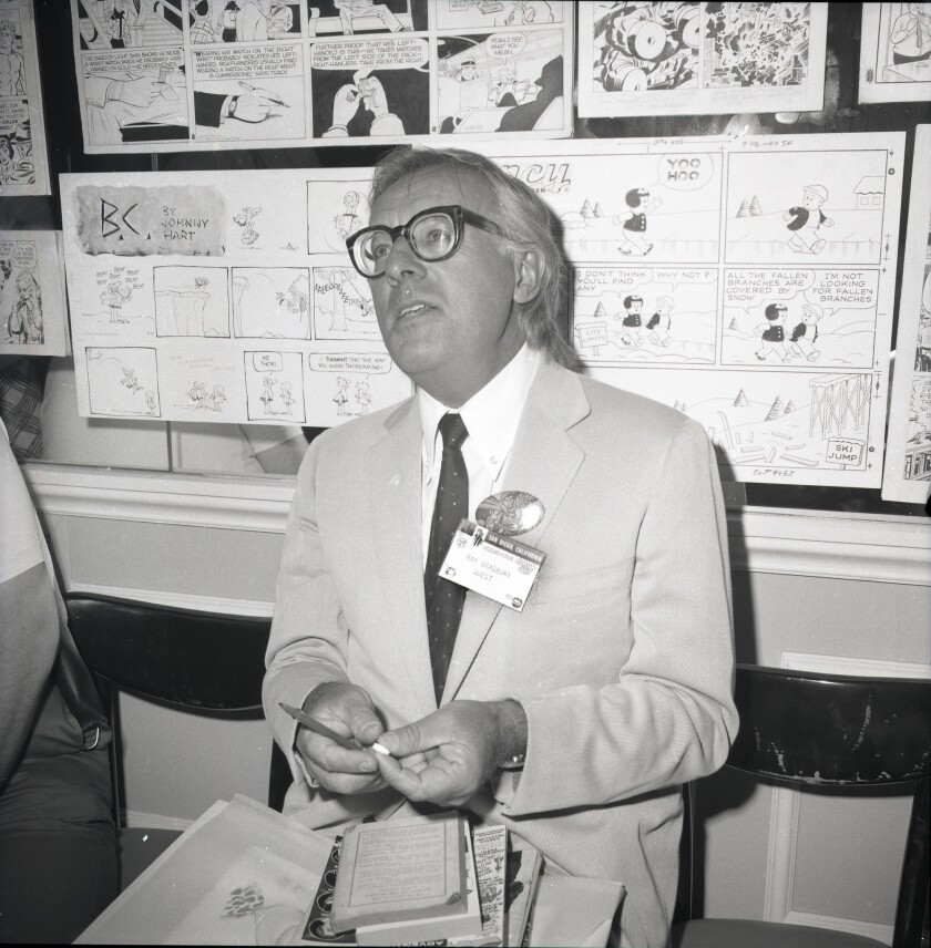 """Even author Ray Bradbury bought a few items from the dealers at the San Diego Golden State Comics Convention in the U.S. Grant Hotel on Aug. 1, 1970. """"I got a few issues of Mad magazine,"""" he said."""