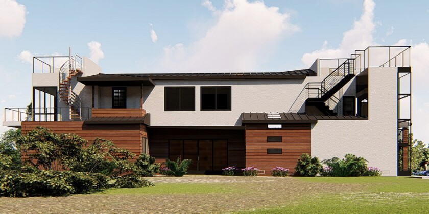 A rendering depicts a planned home remodel at 5610 Bellevue Ave. in Bird Rock.