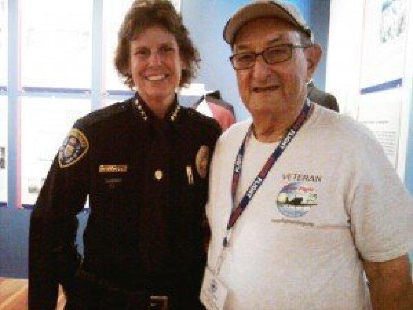 San Diego Police Chief Shelley Zimmerman with World War II veteran Pete Glaser. Courtesy photo