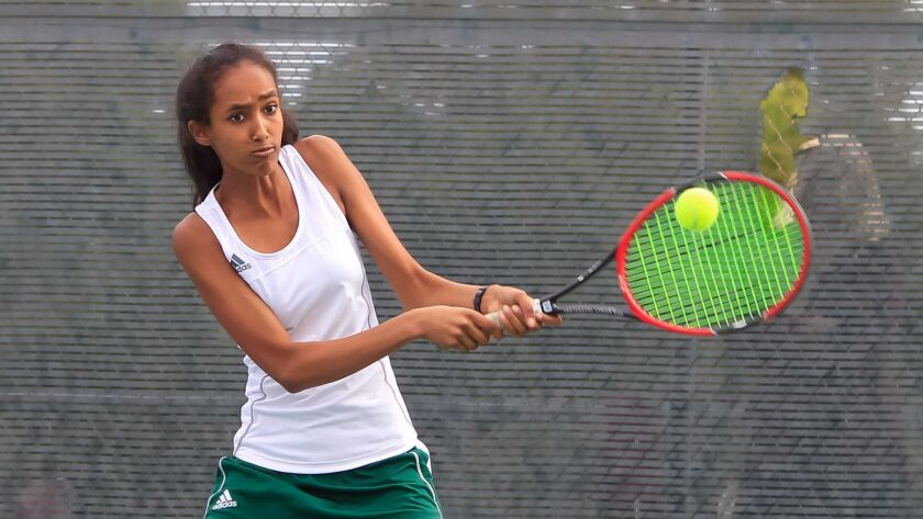 Winta Woldeab has a powerful and accurate serve and solid groundstrokes.