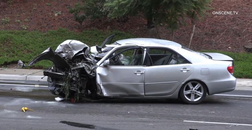 A 16-year-old driver was seriously injured after running into a tree on Scripps Ranch Boulevard early Monday, police said.