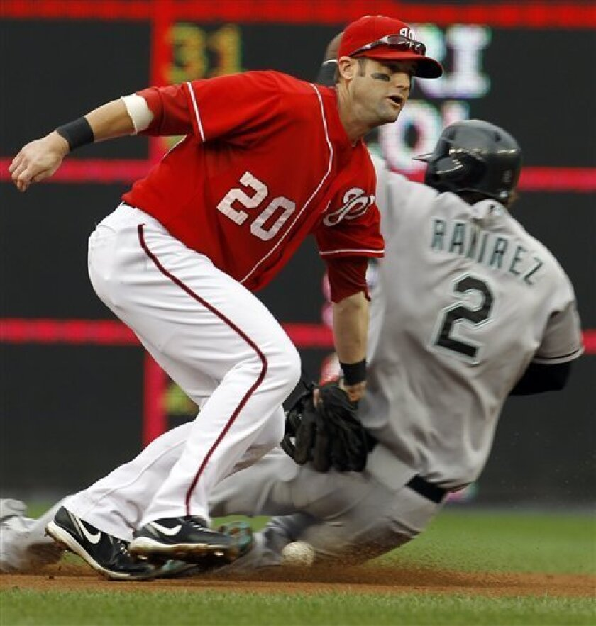 Florida Marlins' Hanley Ramirez (2) safely steals second as Washington Nationals second baseman Adam Kennedy (20) drops the ball before applying the tag during the first inning of a baseball game in Washington, Sunday, Sept. 12, 2010. (AP Photo/Ann Heisenfelt)