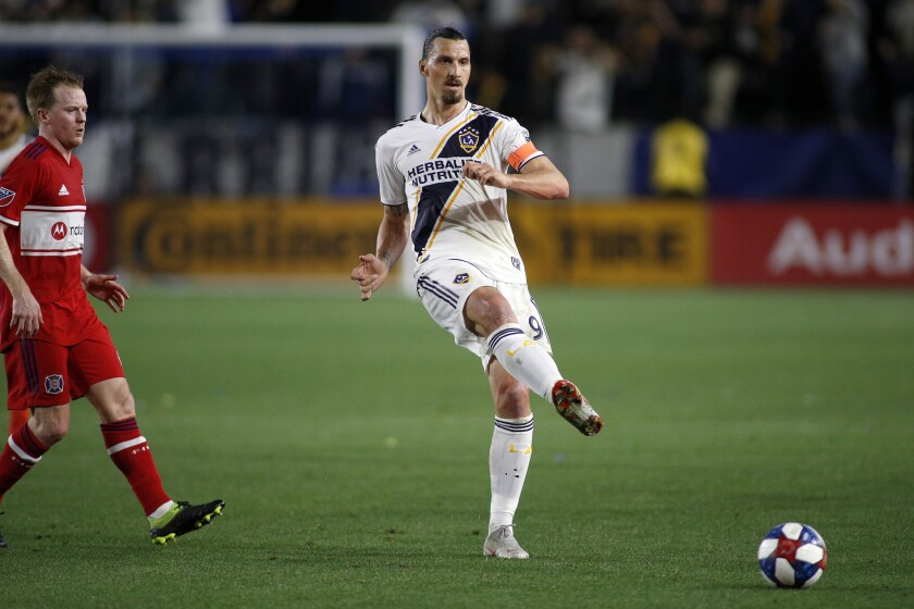 Zlatan Ibrahimovic passes during a game between the Galaxy and the Chicago Fire on March 2 in Carson.
