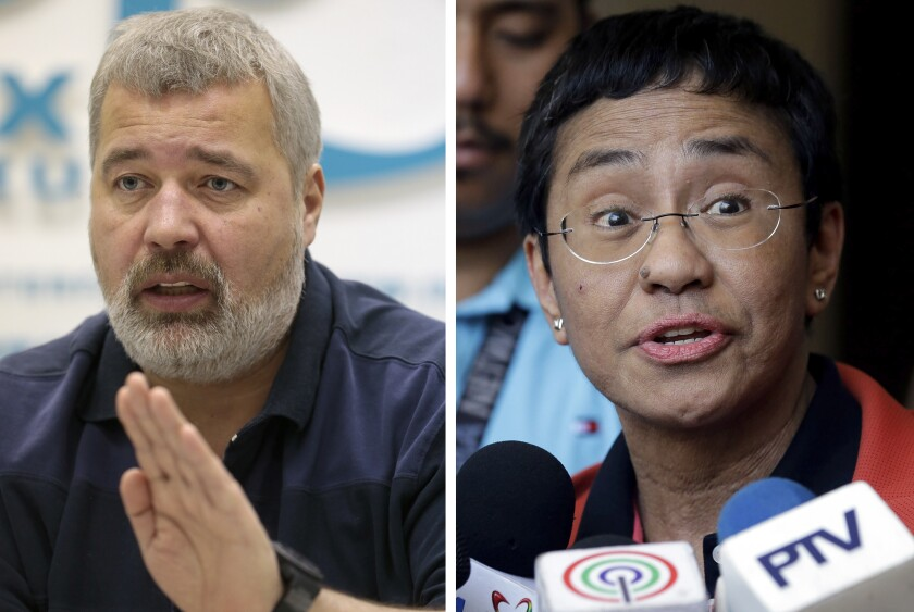 FILE - A combo of file images of Novaya Gazeta editor Dmitry Muratov, left, and of Rappler CEO and Executive Editor Maria Ressa. On Friday, Oct. 8, 2021 the Nobel Peace Prize was awarded to journalists Maria Ressa of the Philippines and Dmitry Muratov of Russia for their fight for freedom of expression. (AP Photo/Mikhail Metzel and Aaron Favila, File)