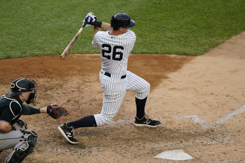 New York Yankees DJ LeMahieu bats during the seventh inning of a baseball game against the Miami Marlins, Sunday, Sept. 27, 2020, at Yankee Stadium in New York. LeMahieu is in line to win the American League batting title. (AP Photo/Kathy Willens)