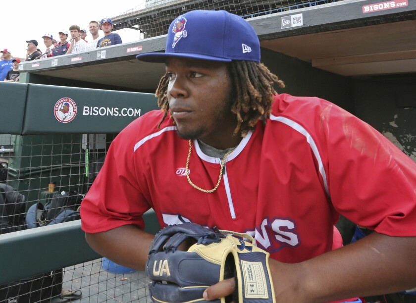Vladimir Guerrero Jr. showed glimpses of greatness as a boy in the Angels clubhouse