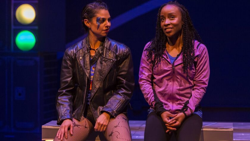 """L-R: Tania Verafield and Briana Price in """"For The Love Of (or, the roller derby play)"""" at Center"""