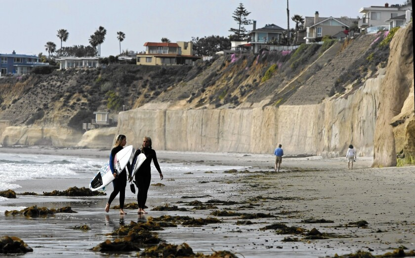 Sea walls line the bluffs in Solana Beach. Permit applicants already pay a sand replacement fee.