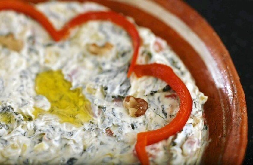 Ramadan recipe for spinach, yellow squash and grilled red pepper dip with yogurt.