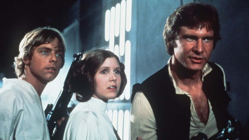 """Carrie Fisher says she and Harrison Ford had an affair while filming 1977's """"Star Wars."""" Don't look so shocked over there on the left, Mark Hamill. It happens."""