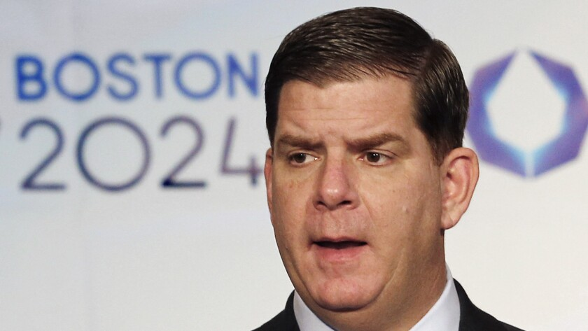 Boston Mayor Martin J. Walsh speaks about his city's 2024 Olympics bid during a news conference Monday.