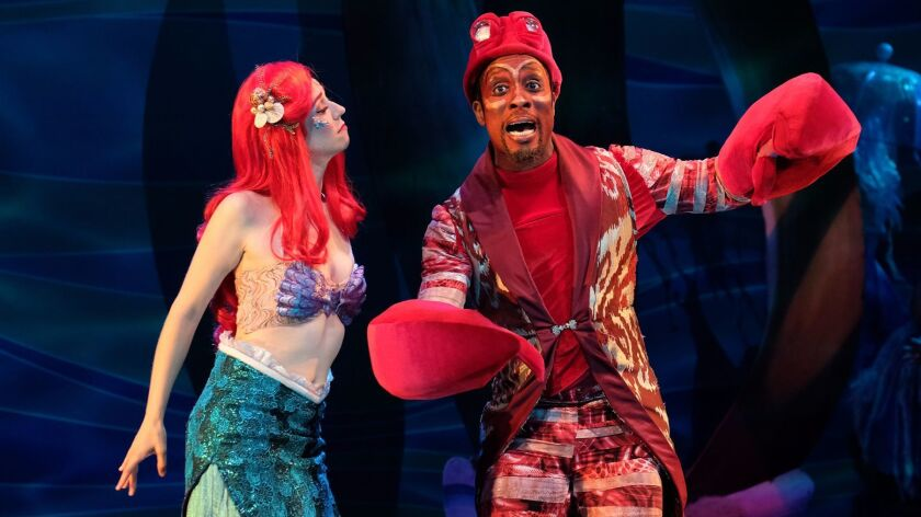 "Chassey Bennett (left) and Cornelius Jones Jr. in ""The Little Mermaid."""