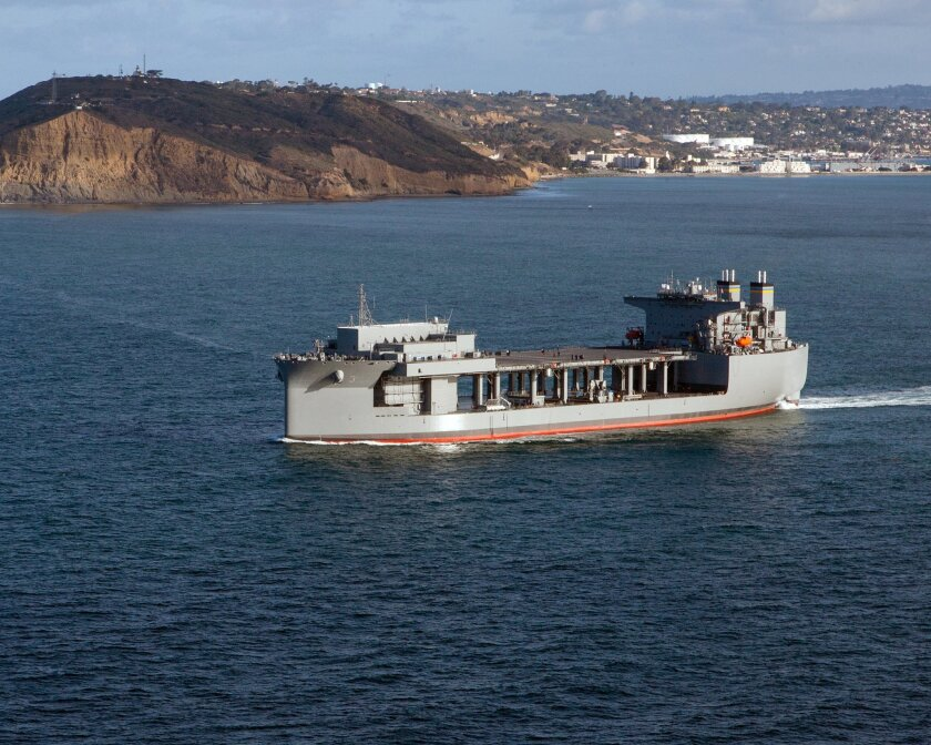 The USNS Lewis B. Puller undergoing sea trials off San Diego.