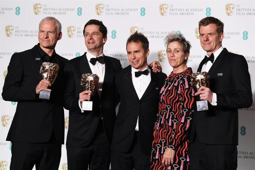 British-Irish filmmaker Martin McDonagh (L) Producer Peter Czernin (2-L), US actor Sam Rockwell (C) and US actress Frances McDormand (2-R) and British producer Graham Broadbent (R) pose in the press room after winning Best Film for 'Three Billboards outside Ebbing, Missouri' during the 71st annual British Academy Film Awards at the Royal Albert Hall in London, Britain, 18 February 2018. EFE