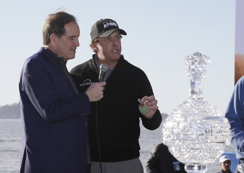 CBS broadcaster Jim Nantz with Phil Mickelson at AT&T Pebble Beach Pro-Am golf tournament on Feb. 11, 2019.