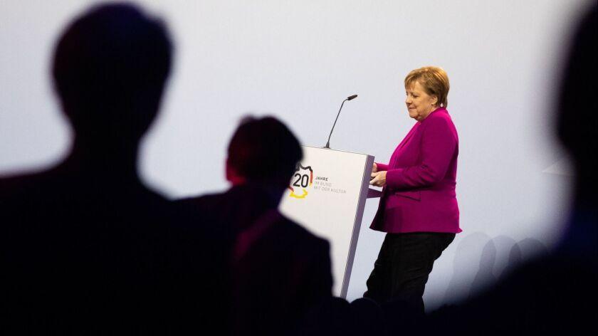 German Chancellor Angela Merkel at a forum in Berlin, Germany on October 29.