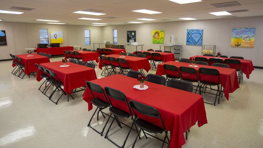The dining area at the Anaheim emergency shelter at 1340 S. Lewis Street.
