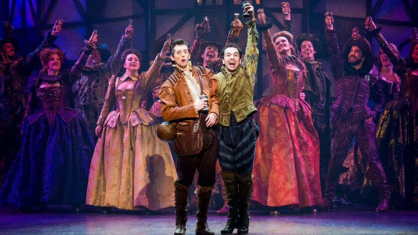 """Josh Grisetti, left, and Rob McClure with the cast of the touring production of """"Something Rotten!"""""""