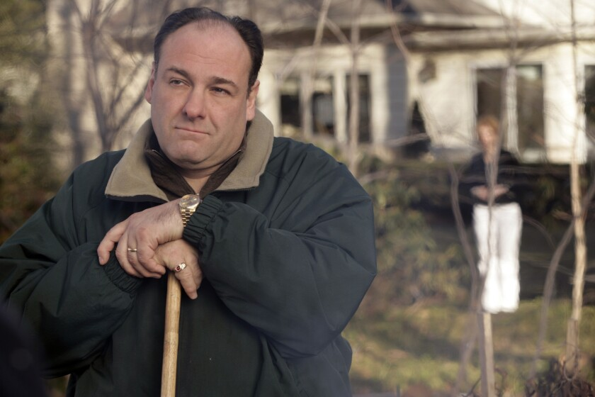 """James Gandolfini as Tony Soprano in a scene from one of the last episodes of the HBO dramatic series """"The Sopranos."""""""