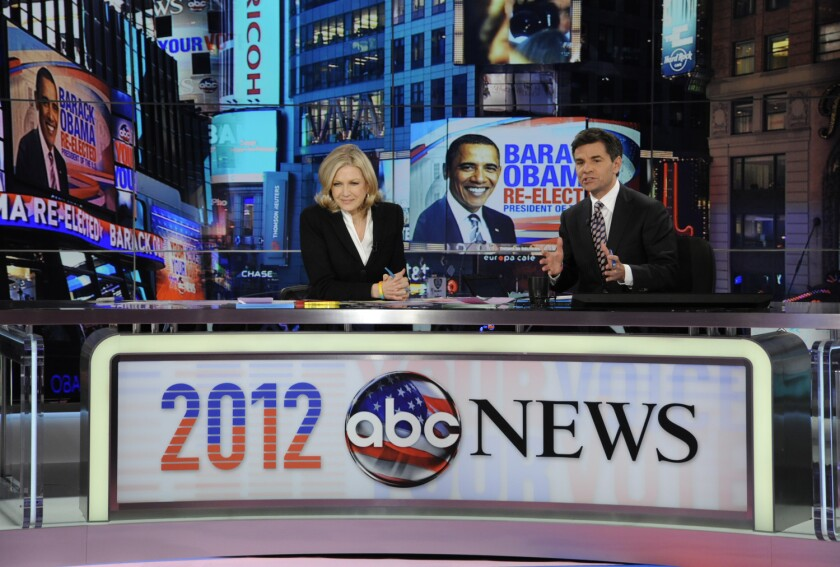A Pew Hispanic Center study found that more Latinos are getting their news from English-language sources. Above, Diane Sawyer and George Stephanopoulos during election night Nov. 7, 2012, from ABC News' Times Square Studios in New York.