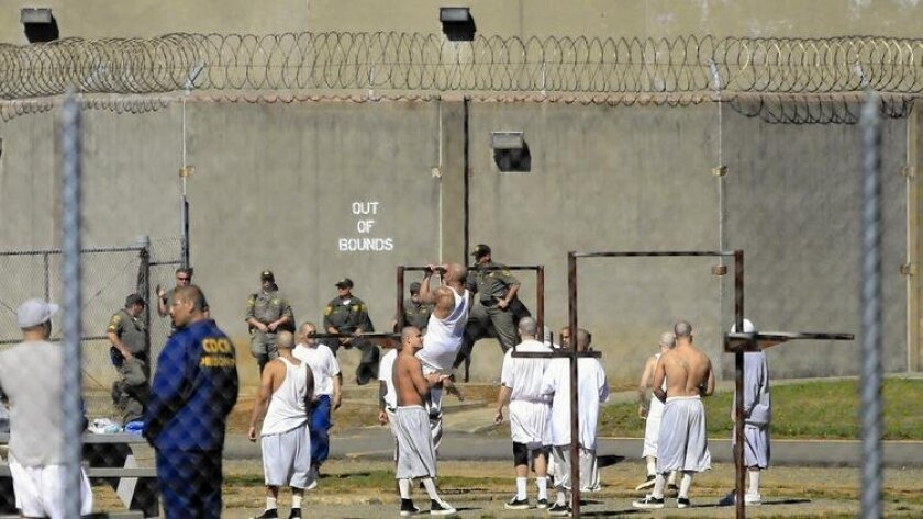 Inmates in the general population exercise yard at Pelican Bay State Prison in Crescent City, Calif.