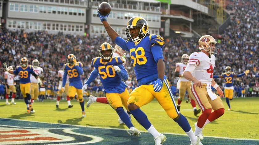 LOS ANGLELES, CA. DECEMBER 30, 2018-Rams linebacker Cory Littleton beats 49ers quarterback Nick Mull