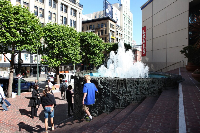 "Ruth Asawa's ""Hyatt on Union Square Fountain"" from 1973, in a triangular plaza behind the Levi's store in San Francisco."