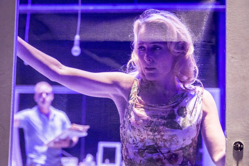 "Gillian Anderson as Blanche DuBois in the Young Vic's staging of ""A Streetcar Named Desire."""