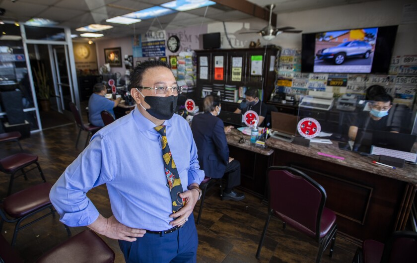 Michael Vo, mayor pro tem of Fountain Valley, requires employees and customers to wear face coverings.