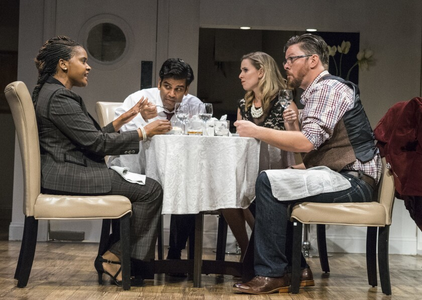 "Monique Gaffney, Ronobir Lahiri, Allison Spratt Pearce and Richard Baird (from left) in San Diego Rep's ""Disgraced."""