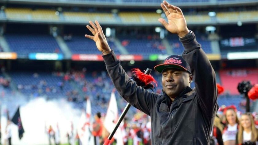 Former San Diego State Aztecs running back Marshall Faulk was inducted into the NFL Hall of Fame in 2011.