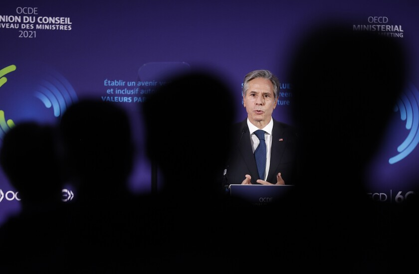 Secretary of State Antony Blinken speaks during a member session at the Organization for Economic Cooperation and Development's Ministerial Council Meeting, Tuesday, Oct. 5, 2021, in Paris. (Ian Langsdon, Pool via AP)