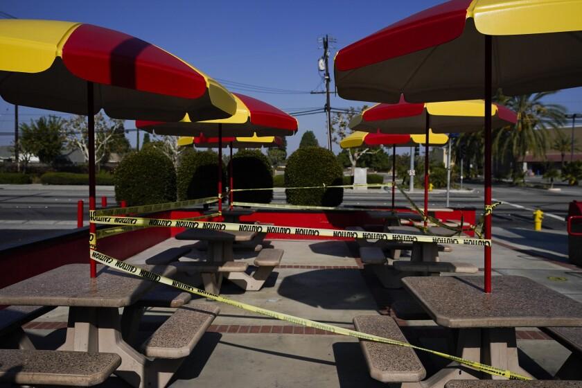 Esta fotografía muestra una zona de mesas al aire libre acordonada en Norwalk, California,