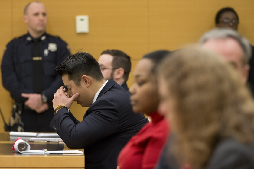 Former New York City police Officer Peter Liang reacts as the verdict is read during his trial on charges in the shooting death of Akai Gurley. He was accused of manslaughter.