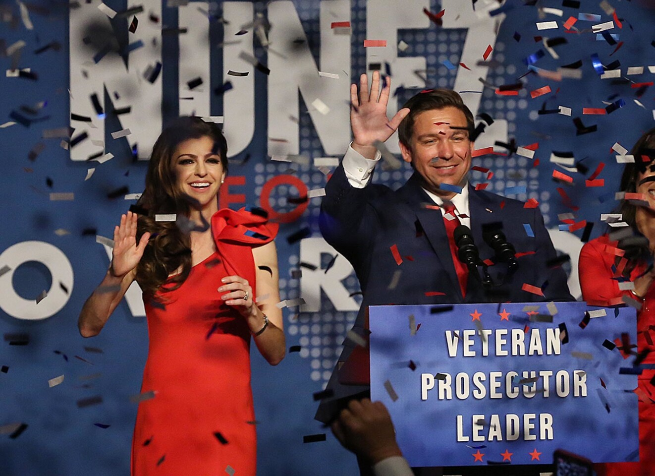 Ron DeSantis and his wife Caey celebrate after winning the Florida Governor's race during DeSantis' party at the Rosen Centre in Orlando on Tuesday, November 6, 2018. (Stephen M. Dowell/Orlando Sentinel)