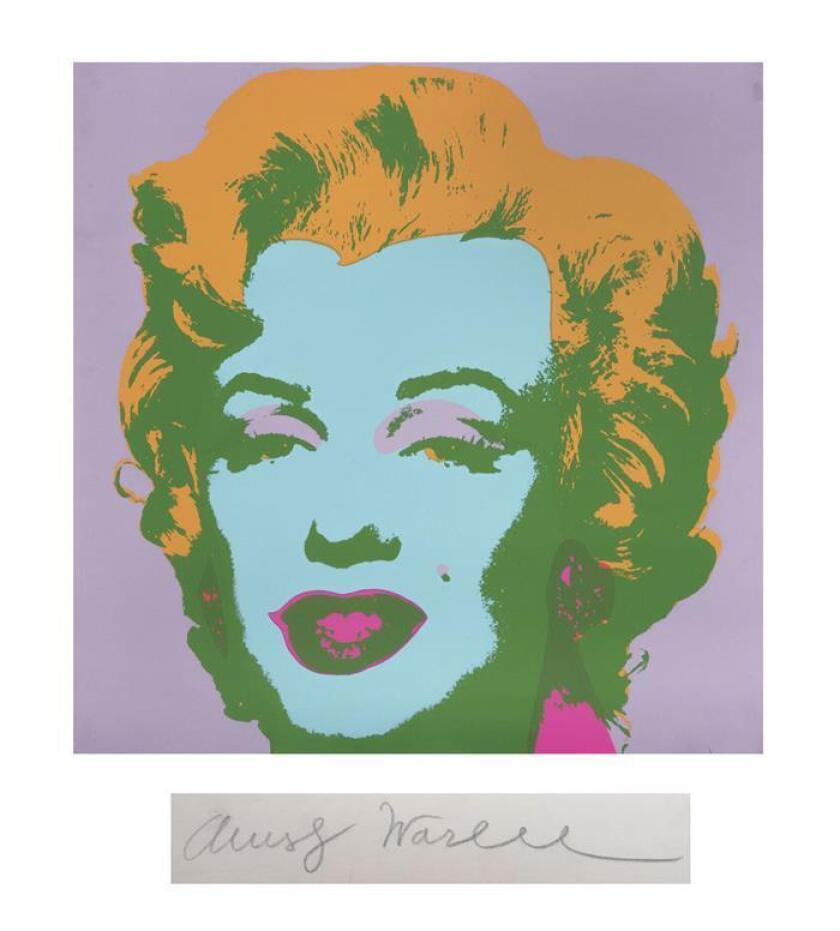 Fotografía cedida por la Casa Morton hoy, miércoles 14 de febrero de 2018, que muestra una de las imágenes que Andy Warhol creó de Marilyn Monroe. EFE/Cortesía Morton Subastas/SOLO USO EDITORIAL//NO VENTAS