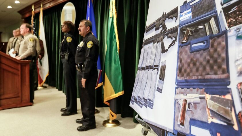 A picture of the weapons cache seized during the investigation of a potential school shooting plot in Whittier.