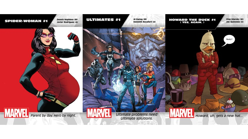 """The """"All-New, All-Different Marvel"""" titles include """"Spider-Woman,"""" """"Ultimates"""" and """"Howard the Duck."""""""